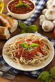 Homemade Spaghetti with Marinara Sauce Stock Photo