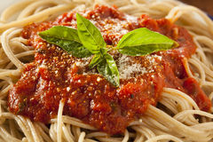 Homemade Spaghetti with Marinara Sauce Stock Image