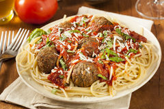Homemade Spaghetti and Meatballs Pasta Royalty Free Stock Image