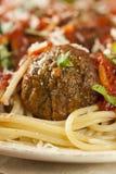 Homemade Spaghetti and Meatballs Pasta Stock Photo