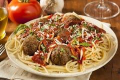 Homemade Spaghetti and Meatballs Pasta Stock Photos