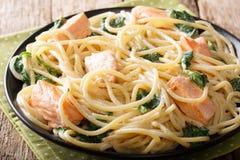 Homemade spaghetti with salmon, cream cheese and spinach closeup. Homemade spaghetti pasta with salmon, cream cheese and spinach closeup on a plate on the table Stock Photos