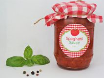 Homemade spaghetti sauce. Homemade spaghetti and pasta sauce with tomatoes and basil Stock Photo