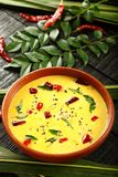 Homemade spiced buttermilk curry, overhead view. Homemade spiced butter milk curry, from south Indian cuisine- Kerala foods,curry Stock Images