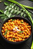 Homemade spicy chickpea roast curry-overhead view royalty free stock photo