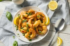 Homemade Spicy Garlic Shrimp. With Basil and Herbs stock image
