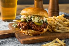 Homemade Spicy Nashville Hot Chicken Sandwich royalty free stock photo