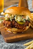 Homemade Spicy Nashville Hot Chicken Sandwich stock image