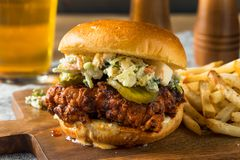 Homemade Spicy Nashville Hot Chicken Sandwich royalty free stock photos