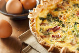 Homemade Spinach and Bacon Egg Quiche Stock Photos
