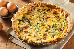Homemade Spinach and Bacon Egg Quiche. In a pie crust Stock Images