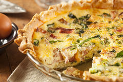 Homemade Spinach and Bacon Egg Quiche Stock Photo