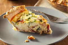 Homemade Spinach and Bacon Egg Quiche Royalty Free Stock Photography