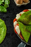 Homemade spinach crepes Stock Images