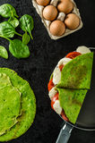 Homemade spinach crepes Stock Photography