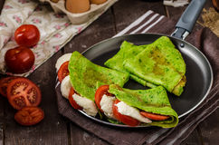 Homemade spinach crepes Royalty Free Stock Photography