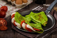 Homemade spinach crepes Royalty Free Stock Image