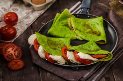 Homemade spinach crepes Royalty Free Stock Photos