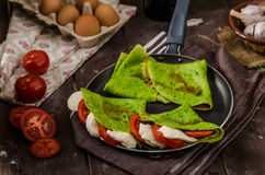 Homemade spinach crepes Stock Image