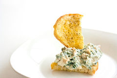 Homemade Spinach Dip on Crostini Royalty Free Stock Photos
