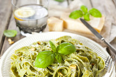 Homemade spinach pasta with pesto and Parmesan cheese Stock Photography