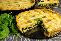 Homemade spinach quiche Stock Image