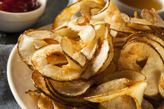 Homemade Spiral Cut Potato Chips Stock Photos