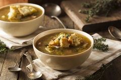 Homemade Split Pea Soup. With Croutons and Sour Cream Royalty Free Stock Photo