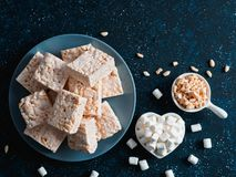 Homemade bars of Marshmallow and crispy rice Stock Photos