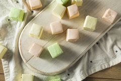 Homemade Square Fruity Colorful Marshmallows royalty free stock photo