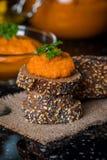 Homemade squash paste on bread Stock Photos