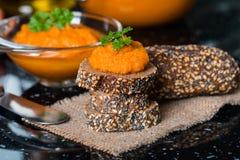 Homemade squash paste on bread Stock Photo