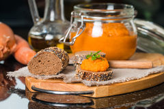 Homemade squash paste on bread Royalty Free Stock Photography