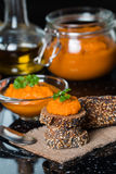 Homemade squash paste on bread Royalty Free Stock Images