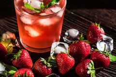 Free Homemade Srawberry Mojito And Berries On Wood Stock Images - 118502814