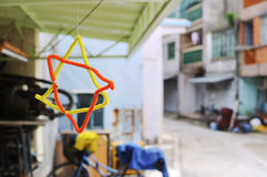 Homemade Star Hanging in Tai O Village, Hong Kong Royalty Free Stock Photos