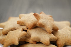 Homemade star shape ginger cookies close up Royalty Free Stock Images