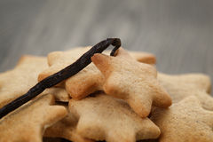 Homemade star shape ginger cookies close up Stock Images