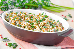 Pasta with ragu of meat and vegetables Stock Images