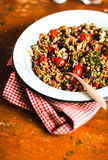 Homemade stew or ragout with green lentil, mushroom, cherry tomatoes, capers and dill Royalty Free Stock Photography