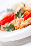 Homemade stewed fish with vegetables and rice, closeup Stock Photo