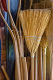 Homemade Straw Brooms Stock Photos