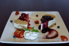 Homemade strawberry and blueberry cheese cake with fresh strawberry and fruits stock photo