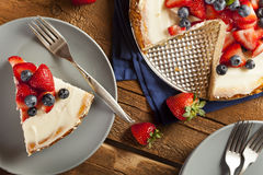 Homemade Strawberry and Blueberry Cheesecake Royalty Free Stock Photo