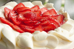 Homemade strawberry cake with cream Royalty Free Stock Images