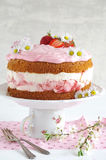 Homemade strawberry cake with fresh cheese cream Royalty Free Stock Photography