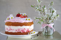 Homemade strawberry cake with fresh cheese cream Stock Photos