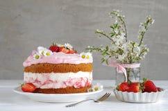 Homemade strawberry cake with fresh cheese cream Stock Photo
