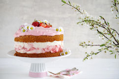 Homemade strawberry cake with fresh cheese cream Royalty Free Stock Image