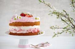 Homemade strawberry cake with fresh cheese cream Royalty Free Stock Image